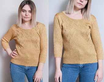 Vintage 1970's   Gold   Metallic   Sparkle   Lightweight   Knit   Sweater   Pullover   Top   S