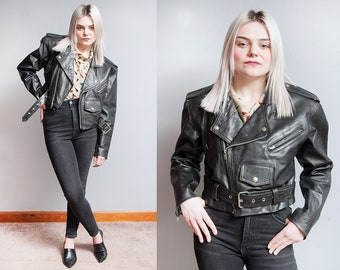 Vintage 1980's/1990's | Black | Leather | Cropped | Motorcycle | Biker | Jacket | M