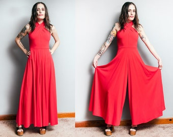 Vintage 1970's | Red | Huge Bell Bottom | Wide Leg | Disco | Jumpsuit | XS