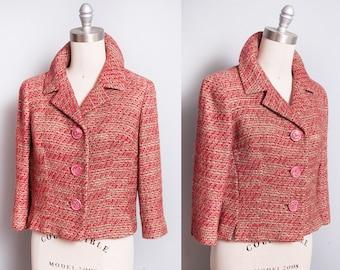 Vintage 1960's | Red | Wool | Mid Century | Bracelet Sleeves | Cropped | Blazer | Jacket | S/M