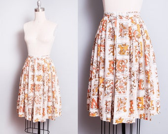 Vintage 1950's | ABC Pattern | Novelty Print | Cotton | Circle | Skirt | XXS-XS