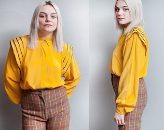 Vintage 1980's | Yellow | Silk | New Wave | Button Down | Blouse | M/L