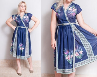 Vintage 1970's | Blue | Tropical | Floral | Sheer | Criss Cross Bodice | Dress | M