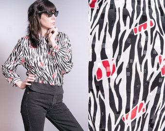 Vintage 1980's | Printed | Patterned | Black & White | Pullover | Blouse | Top | S/M
