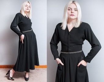 Vintage 1980's/1990's | Black | 100% Wool | ANNE KLEIN | Midi | Dress | S