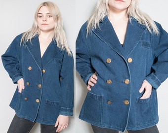 Vintage 1990's | Oversized | Denim | Pea Coat | Lightweight | Jean | Unisex | Jacket | SML
