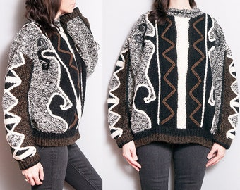 Vintage 1980's   Oversized   Chunky   Unisex   Pullover   Sweater   SML