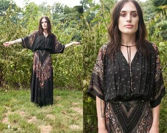 Vintage 1970's I Black   Flowy   Floral & Paisley   Boho   Semi-Sheer   Drapy   Maxi   Dress   S/M