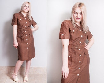 Vintage 1980's/1990's | Brown | ESCADA | 100% Linen | Dress | M