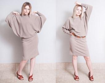 Vintage 1980's | Anne Klein Knitwear | Dolman Sleeve | Minimalist | Pullover | Sweater | Dress | S/M