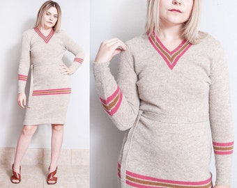 Vintage 1970's | Striped | V Neck | Fitted | 100% Wool | Sweater | Dress | S