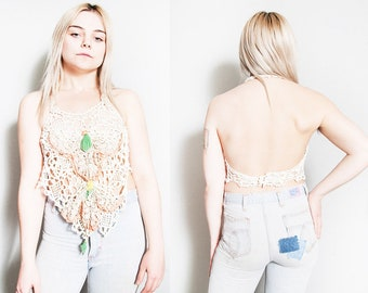 Vintage 1970's   Ivory   Floral   Crocheted   Backless   Halter   Top   XS/S