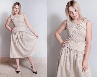 Vintage 1950's | Floral Printed | 100% Cotton | Mid Century | Drop Waist | Dress | S