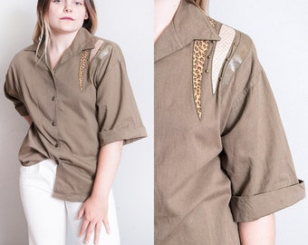 Vintage 1980's   Army Green   Embellished   Button Down   Blouse   100% Cotton   Top   M