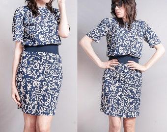 Vintage 1980's | Liz Claiborne | Navy Blue | Printed | Abstract Pattern | Dress | S
