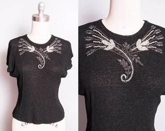 Vintage 1950's | Black | Beaded | Embellished | Lightweight | Knit | Top | XS/S