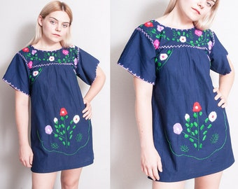 Vintage 1970's | Blue | Floral | Mexican | Hand Embroidered | Cotton | Dress | XS/S