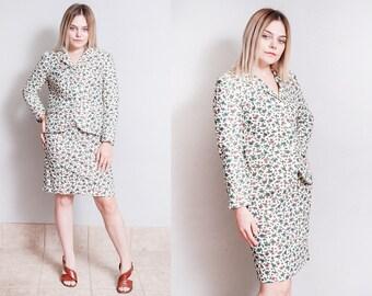 Vintage 1960's | Floral | 2 Piece Suit Set | Jacket | Skirt | Mid Century | S