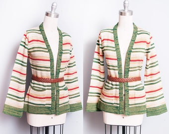 Vintage 1970's | Striped | Cardigan | Bell Sleeves | Sweater | S