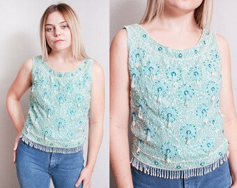 Vintage 1960's   Hand Beaded   Sequin   100% Wool   Sleeveless   Cocktail   Top   M