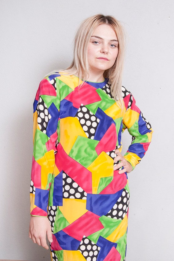 Vintage 1980's/1990's | Colorful | 100% Silk | Ab… - image 3
