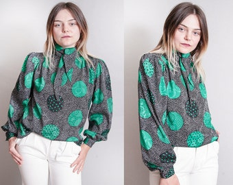 Vintage 1970's   Ascot Collar   Printed   Patterned   Polka Dot   Button Down   Blouse   M