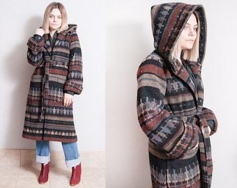 Vintage 1980's/1990's | Wool | Southwestern | Hooded | Coat | S
