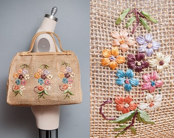 Vintage 1950's/1960's | Large | Floral | Straw | Bamboo | Market | Beach | Summer | Bag