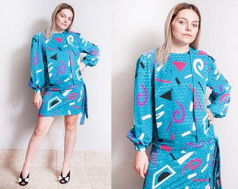 Vintage 1980's | Drop Waist | Printed | Patterned | New Wave | Triangle Silhouette | Dress | S/M