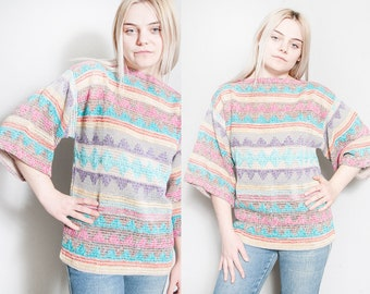 Vintage 1970's   Lightweight   Knit   Triangle   Boatneck   Pullover   Sweater   M