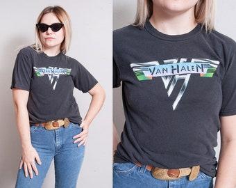 Vintage 1980's | VAN HALEN | Black | Graphic | Rock N Roll | Band | T-Shirt | S