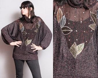 Vintage 1970's/1980's   OS   Dolman Sleeve   Metallic   Embellished   Lightweight Knit   Sweater   SML