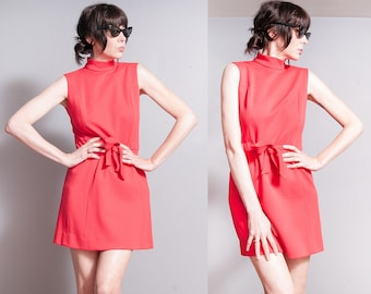 Vintage 1960's | Red | MOD | Scooter | Mini | Dress | S