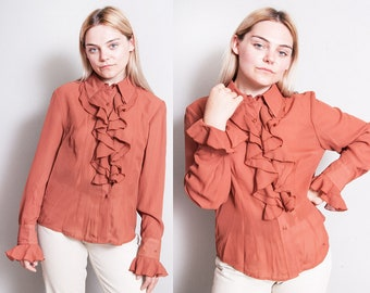 Vintage 1990's   Forenza   Cascade   Ruffled   Button Down   Blouse   M