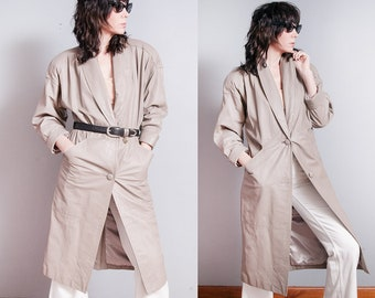 Vintage 1980's   Transitional   Long   Leather   Spring   Trench   Coat   Jacket   M