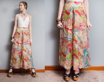 Vintage 1970's | Psychedelic | Bright | Bell Bottom | SUPER  Wide Leg | Palazzo | Pants | L/XL
