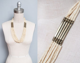 Vintage 1970's | Brass | Beaded | Boho | Ethnic | Necklace