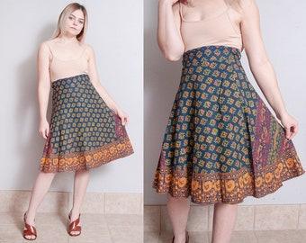 Vintage 1970's   Blue   India Cotton   Wrap   Skirt   S/M