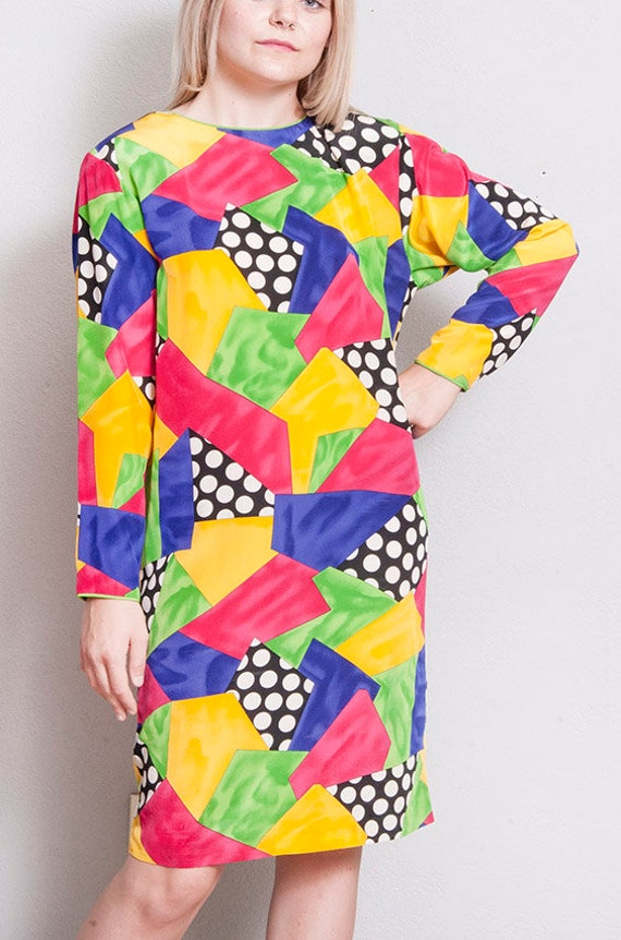 Vintage 1980's/1990's | Colorful | 100% Silk | Ab… - image 2