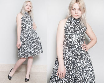 Vintage 1980's | Black & White | Sequin | SAKS FIFTH AVENUE | Fit and Flare | Party | Dress | M