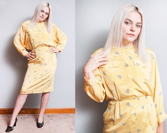 Vintage 1980's | Yellow | New Wave | Dolman Sleeve | Dress | S