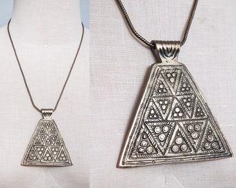 Vintage 1970's | Brass | Etched | Triangle Pendant | Ethnic | Boho | Necklace