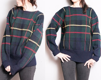 Vintage 1990's   Ralph Lauren Polo   Plaid   Wool   Oversized   Unisex   Pullover   Sweater   SML