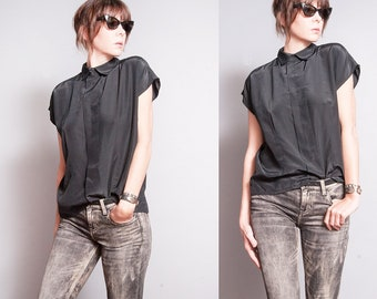 Vintage 1980's | Black | Minimalist | Collared | Blouse | Oversized or SML