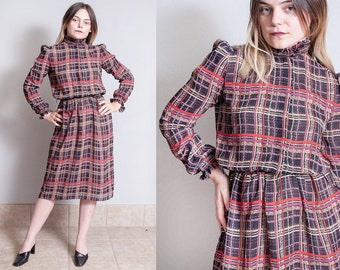 Vintage 1970's | Black | Plaid | Printed | Patterned | Ruffled High Collar | Semi-Sheer | Dress | S/M