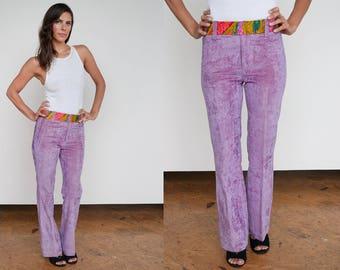 Vintage 1960's/1970's I Lavender I Velveteen I Hippie I Boho I Pants I S