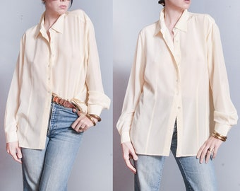 Vintage 1990's | Emanuel Ungaro | Ivory | OS | 100% Silk | Button Down | Minimalist | Blouse | OS or SML
