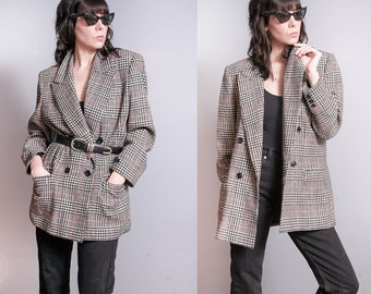 Vintage 1980's/1990's | Bill Blass | Plaid | OS | Double Breasted | 100% Wool | Blazer | Jacket | SML