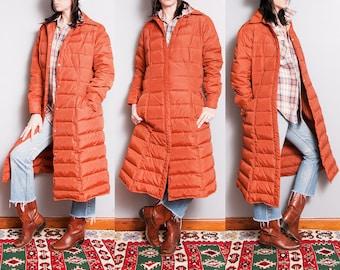 Vintage 1980's | Burnt Orange | Winter | Long | Puffer Coat | L