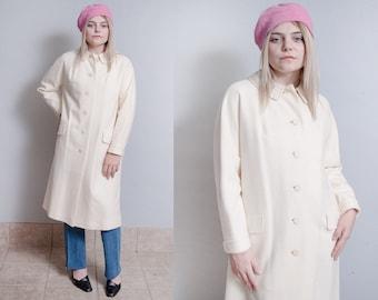 Vintage 1960's | Winter White | Wool | Overcoat | Long | Mid Century | Coat | M/L